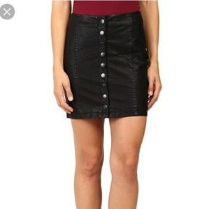 Free People Black Faux Leather Button Down Skirt
